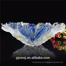 Cesta de fruta cristalina azul hermosa barata 2015 para el regalo de la decoración de la boda