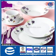 Artículos clásicos de porcelana flor púrpura agradable platos redondos cerámica porcelana vajilla productos que venden bien en Turquía