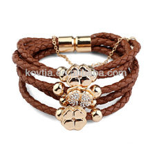 Wholesale brown braided leather bracelet
