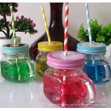 Mini taza o taza de cristal con la manija, tarro de cristal del almacenaje del albañil