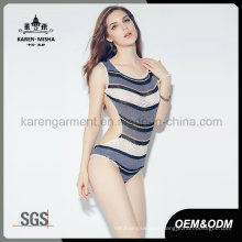 Ladies Latest Design Beach Wear Striped Knit Tankini