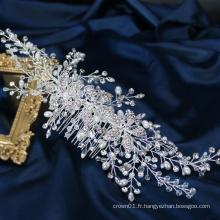 Nouveau design mariage vigne à la main bijoux cristal perle de mariée peigne à cheveux