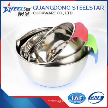 Stainless steel deep colored mixing salad bowl with handle and lid for wholesaled market