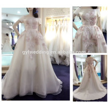2016 New Fashion Real Photo Dress Off the Shoulder Short Sleeve Ball Gown Stain Light Champagne Embroidered Wedding Dresses A177