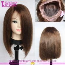 #6 direto virgem brasileira cabelo curto Bob estilo peruca cheia do laço do cabelo humano
