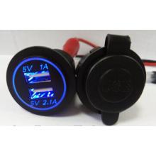 Excelvan LED Dual USB Car Cigarette Lighter Socket 12V 24V 3.1A Charger Adapter