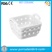 Weave Design Ceramic White Fruit Storage Basket