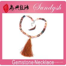 Mão de jóias de pedra natural atada listrado borla colar Boho colares