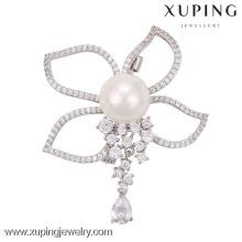 Broche de la perla de la mariposa de la joyería de la broche 00011-xuping, broche del diamante artificial de la mariposa, broches y pernos baratos de la mariposa