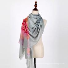 Fashion high quality floral pattern digital printing silk scarves