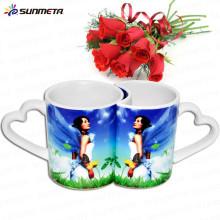 La taza de la sublimación del amante de cerámica 11oz superventas con la manija del corazón