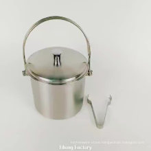 mirror finished 5 quart stainless steel wine ice bucket with tongs