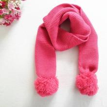 Double Ball pura cor lenço de lã tricô cachecol para crianças