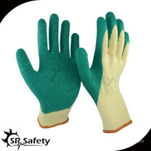 SRSafety Yellow polycotton coated green latex on palm and thumb, high quality latex working gloves from China