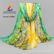 LINGSHANG DXF2 bufanda de seda de la gasa de la impresión de la bufanda de la manera de los accesorios de los vestidos de moda al por mayor de la muchacha