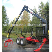 forest farm Log trailer with crane for Tractor