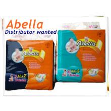 Abella de alta calidad de tela como Magic Tapes Velcros suave cómodo bebé pañal