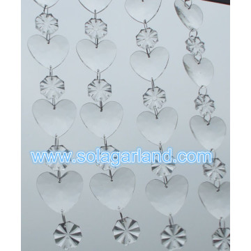 Lovely Heart Beads Garland Acrylic Clear Crystal Hanging Bead String