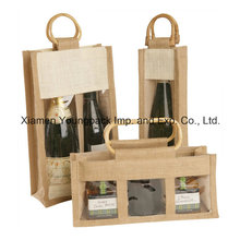 Eco-Friendly Cane Handle Wine Gift Jute Sac avec fenêtre en plastique