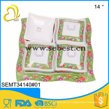 bandeja de alimentos de frutas cuadrada de 4 compartimentos de melamina de forma segura con cubierta
