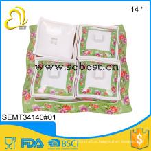 bandeja usada seguramente do alimento da fruta dos compartimentos do quadrado 4 da melamina com tampa