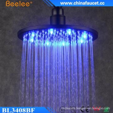 Bathroom Round Black No Battery Hydro Power LED Shower Head