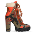 Good quality shoes Big size 11 high block heel  thick chunky platform sole Camouflage lace up ankle women boot
