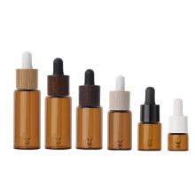 10ml 15ml 20ml 25ml 30ml amber cosmetic glass dropper bottle with bamboo dropper