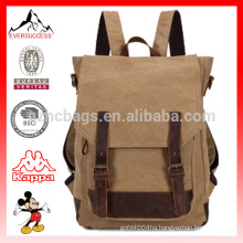 Canvas And Leather Backpack Camping Rucksack Bookbag Satchel Trendy Canvas Backpacks Hiking Backpack HCB0041