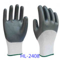 Red Polyester Liner Glove with Black Nitrile Half Coated, Smooth Finishing