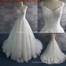 Elisab high quality appliqued lace sweetheard neckline sweep train wedding dress W11