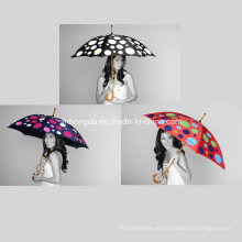 Holzschaft DOT Farbwechselbarer Stoffgerader Regenschirm (YSC0006)