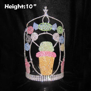 10in Large Tall Rhinestone Cupcake Pageant Crowns