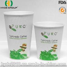 Papier jetable de tasse de café d'ondulation de 12oz (12oz)