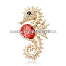 2016 bulk dubai gold jewelry sea horse brooches lovely rhinestone animal brooches for girls