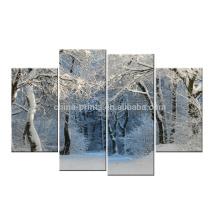 Arte nevado de la lona de la lona del invierno / impresión de la lona del paisaje / arte estirado de la pintura de la lona