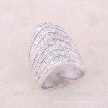 Anillo de dedo largo indio de la manera suena el medio anillo cristalino para las señoras