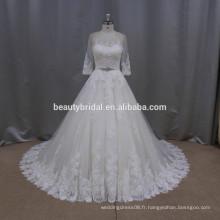 LA017 réelle une ligne luxe perlée émotion encolure pakistani robes de mariée avec saah perlé