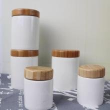 White Ceramic Candle Jar with Wooden Lid 8 oz