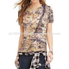 casual skinny tops made in polyester printed t shirts for women and girls