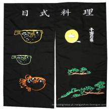 Cortina de porta Noren feita sob medida em algodão preto bordado Tc Design tradicional japonês