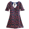 V-neck Bubble Sleeve Cherry Printed Backless dress