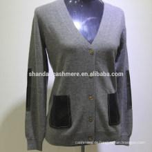 SD-16003 Langarm-Taste Kleidung Hand stricken Pullover Design 100% Kaschmir-Strickjacke Frauen