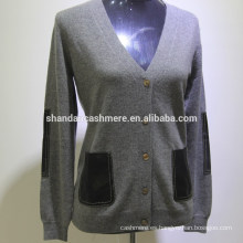 SD-16003 botón de manga larga confeccionado a mano suéter de punto 100% cachemir cardigan mujeres