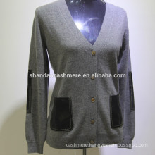 SD-16003 long sleeve button clothing hand knit sweater design 100% cashmere cardigan women