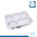 Popular 5 Dividers 304 Stainless Steel Fast Food Tray & Lunchbox with Lid