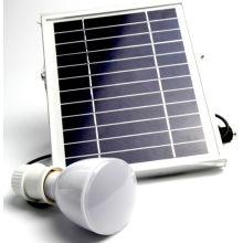 Techo colgante y mano sujetan la luz de emergencia de la lámpara LED solar