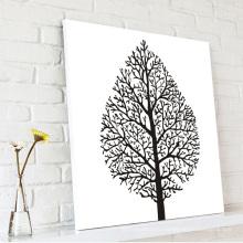 Абстрактное дерево Лист Черно-белое полотно