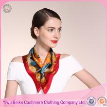 High Quality 100% Handmade Screen Print Twill Ladies Silk Scarves