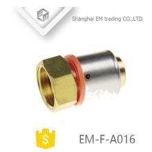 EM-F-A016 Hexagon rosca fêmea adaptador de latão conector de compressão de encaixe de tubulação